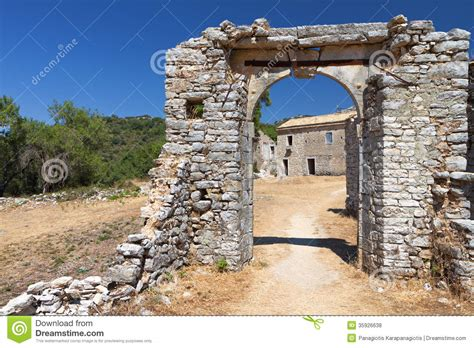 Stone Cottage House Plans rusrtic scenery in greece royalty free stock photos