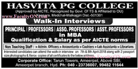 Hasvita Mba College Ameerpet by Hasvita Pg College Keesara Wanted Teaching Faculty Plus