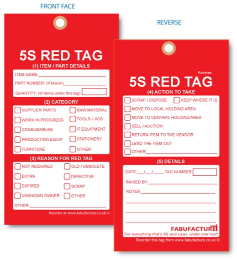 5s Red Labels And 5s Red Tags From Fabufacture Uk Fabufacture Uk 5s Tag Template