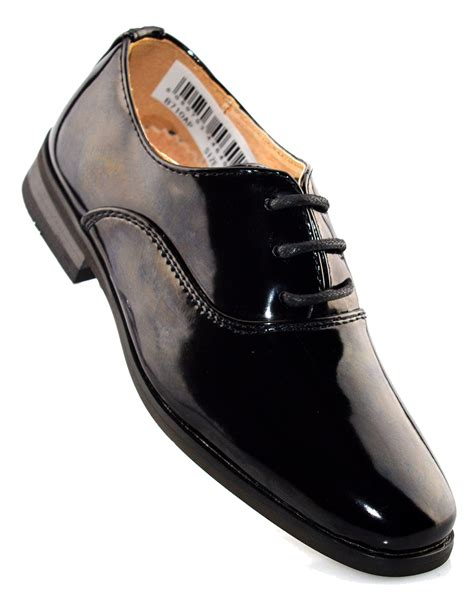 boys leather lined lace up wedding smart patent black