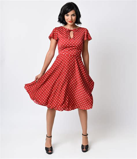 1940 swing dresses unique vintage 1940s style red ivory dot formosa swing dress