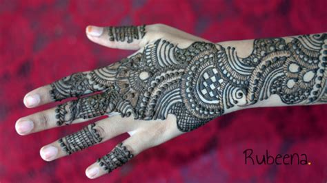 full hand latest indo arabic mehndi design back side