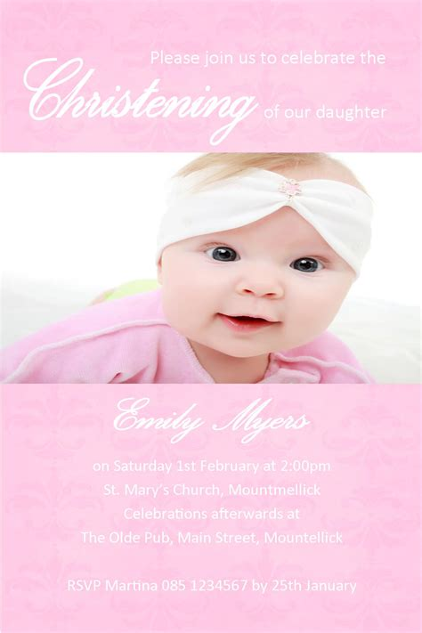 baptismal invitation layout maker personalised girl photo christening invitations design 5