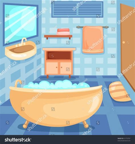 Colorful Bathrooms Illustration Cartoon Interior Bathroom Stock Vector