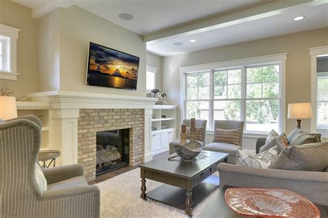 brick fireplaces family room farmhouse with built in