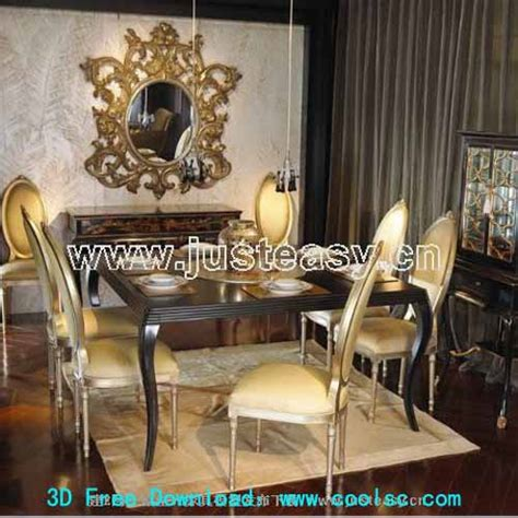 combination of european luxury dining tables and chairs 3d