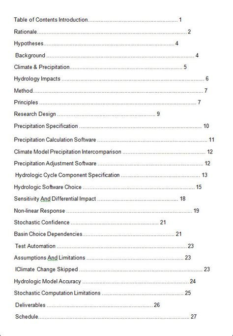 word report template with table of contents 10 free table of contents templates sle templates