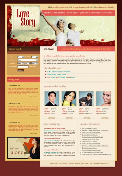story website themes love story website template 5675 love dating