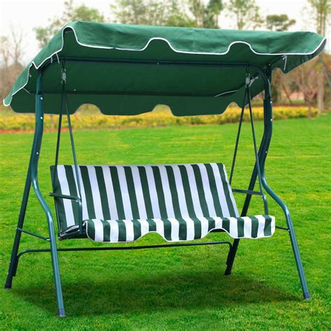 patio swing cover 3 person outdoor patio garden swing cushioned canopy