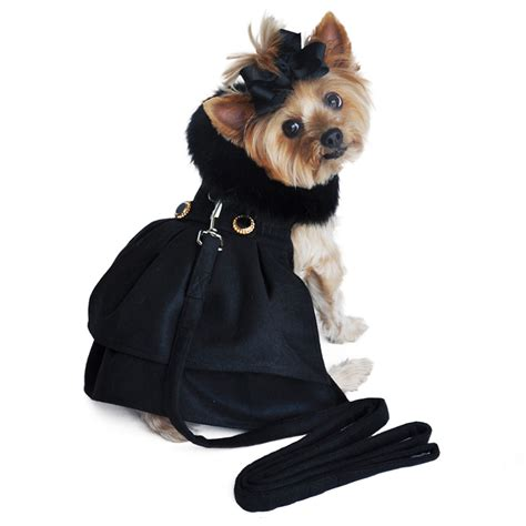 puppy coat wool fur trimmed harness coat black with same day shipping baxterboo