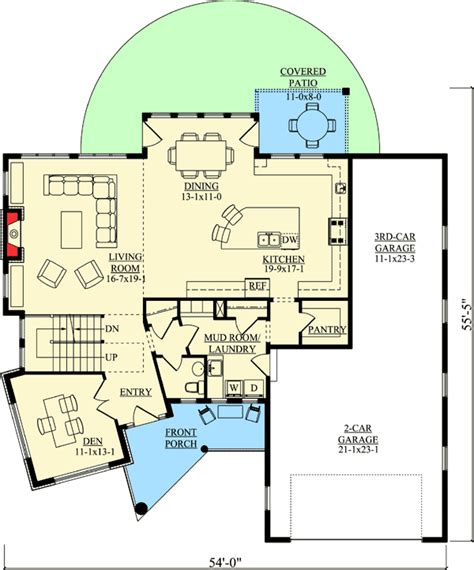 plan 86039bw master down modern house plan with outdoor master up contemporary with angled den 95018rw
