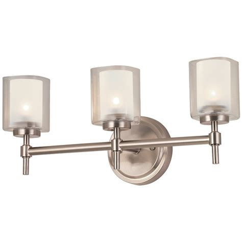 Brushed Nickel Vanity Lights Bathroom Bel Air Lighting 3 Light Brushed Nickel Bathroom Vanity Light Lowe S Canada