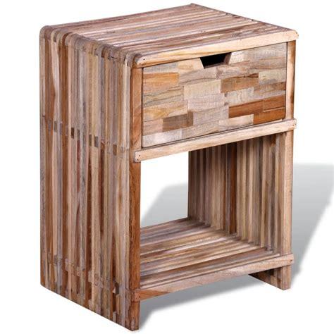 cassetto in legno comodino con cassetto in legno anticato di teak vidaxl it