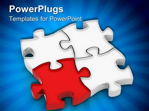 Powerpoint Template Four Puzzle Pieces With Bluish Background 24174 Powerpoint Puzzle Pieces Template
