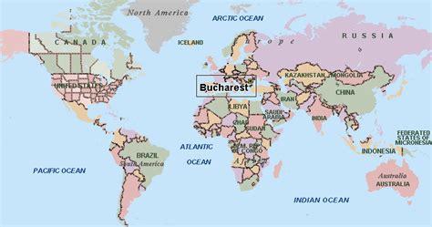 romania on the world map world map bucharest view