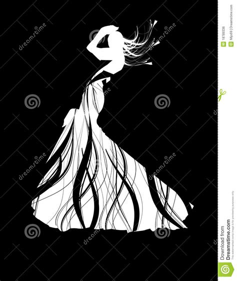 white silhouette silhouette girl in white dress stock vector image 18789336