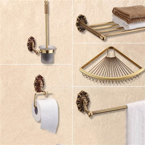5 antique brass wall mounted bathroom accessory sets