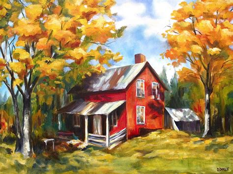 red house painters poster red house in autumn painting by diane daigle