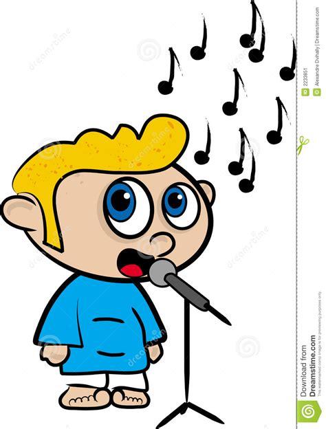 cartoon film video song cartoon of a boy who sings stock illustration