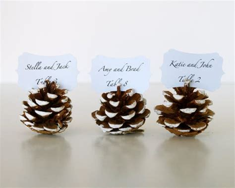 pine cone table l pine cones wedding escort cards and christmas wedding on
