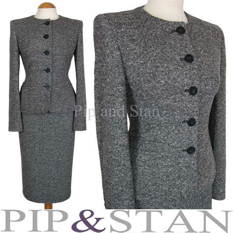 next uk12 us8 grey wool tweed pencil skirt suit size