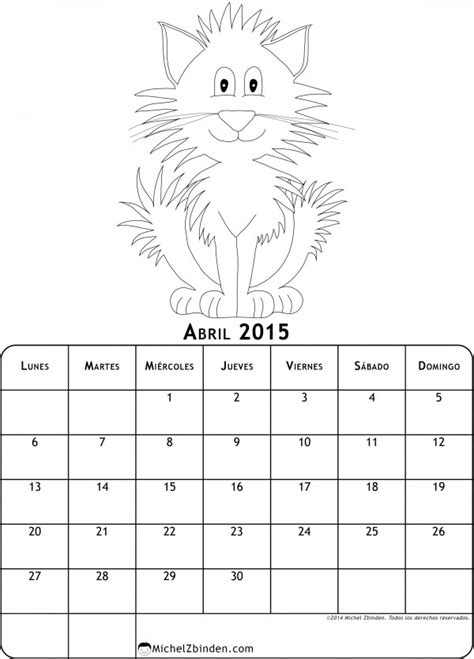 Calendario Abril 2015 Para Imprimir Calendarios Abril 2015 Con Dibujos Para Pintar Colorear