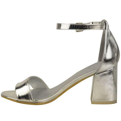 peep toe sandals low heel new womens low mid heel block peep toe ankle