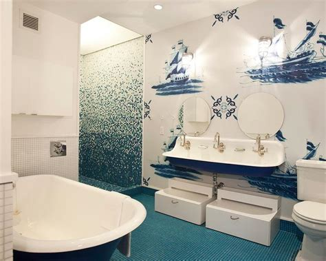 nautical bathroom tiles blue sink vanity with three sinks and brass faucets