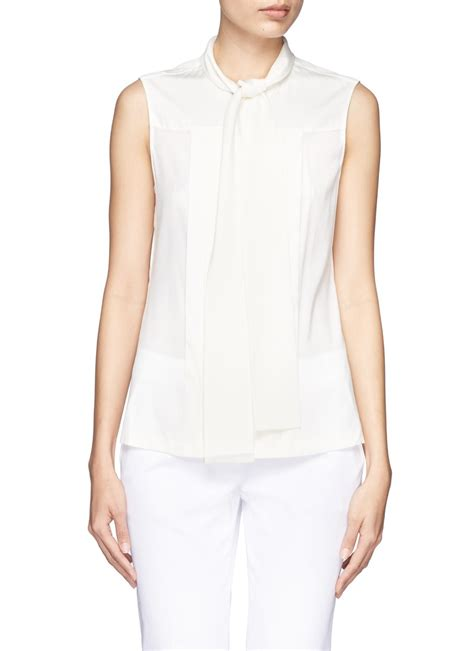 Blouse By Hana2 burch hana shell tiefront sleeveless silk top in white lyst