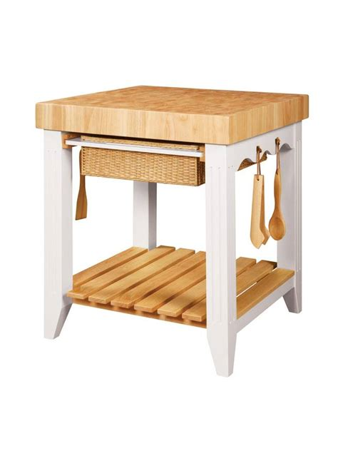 powell color story white butcher block kitchen island