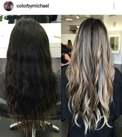 dark brown to light brown hair before and after ash blonde balayage on dark brown hair