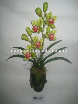 mini red cymbidium silk orchids in asian planter o140 newest two stems artificial silk cymbidium orchid with
