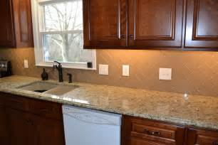 delightful Glass Subway Tile Kitchen Backsplash #1: Champage-Glass-Subway-Tile-Herringbone-Kitchen-Backsplash.jpg