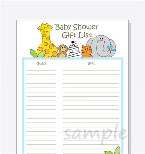 baby shower gift list template 8 free sle exle
