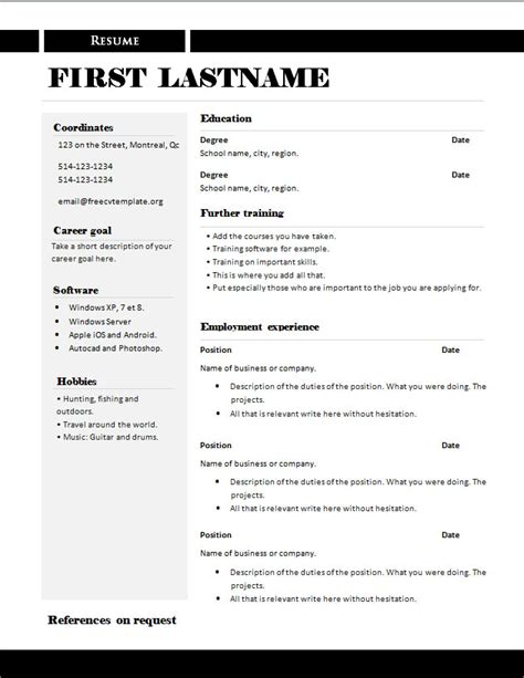 resume templates in word format free free cv templates 289 to 295 free cv template dot org