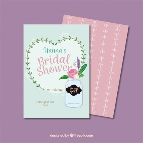 beautiful bridal shower invitation template vector free