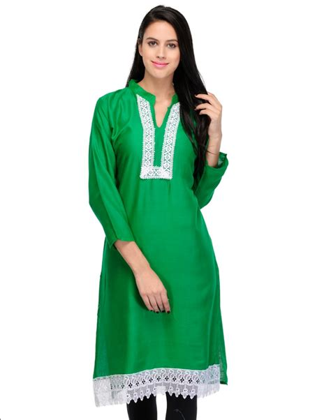 lace pattern for kurti online designer long rayon kurti with embroidered lace