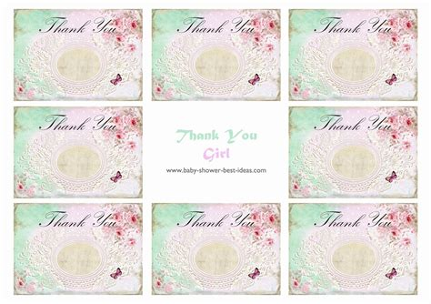 thank you card template baby shower tags 6 best images of printable baby shower thank you baby