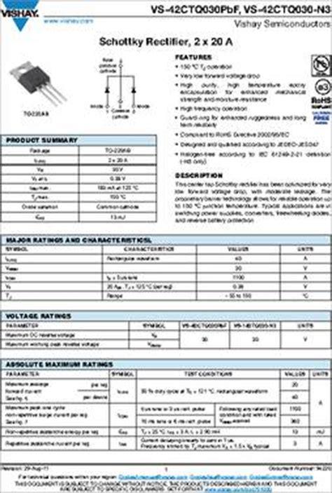 schottky diode specifications 42ctq030 datasheet specifications diode type schottky diode configuration