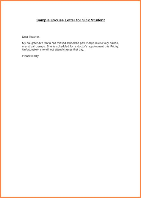 School Sick Absence Letter Sle How To Write An Excused Absence Note For Schoolwritings And Papers Writings And Papers