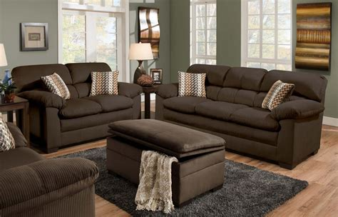 Dark Brown Suede Sofa And Loveseat Combined With Ottoman Coffee Table On Rectangle Gray Fur Rug