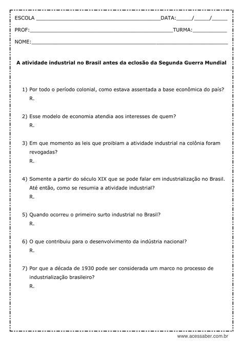 Atividade de história: A atividade industrial no Brasil