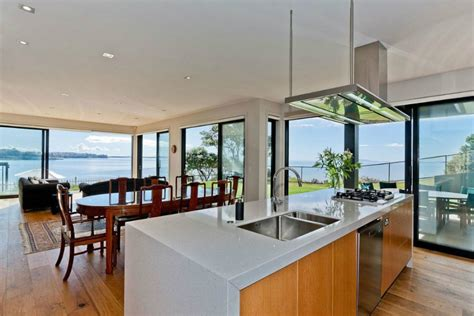 Kitchen View by Modern New Zealand House By Creative Arch Opens Up To Sea