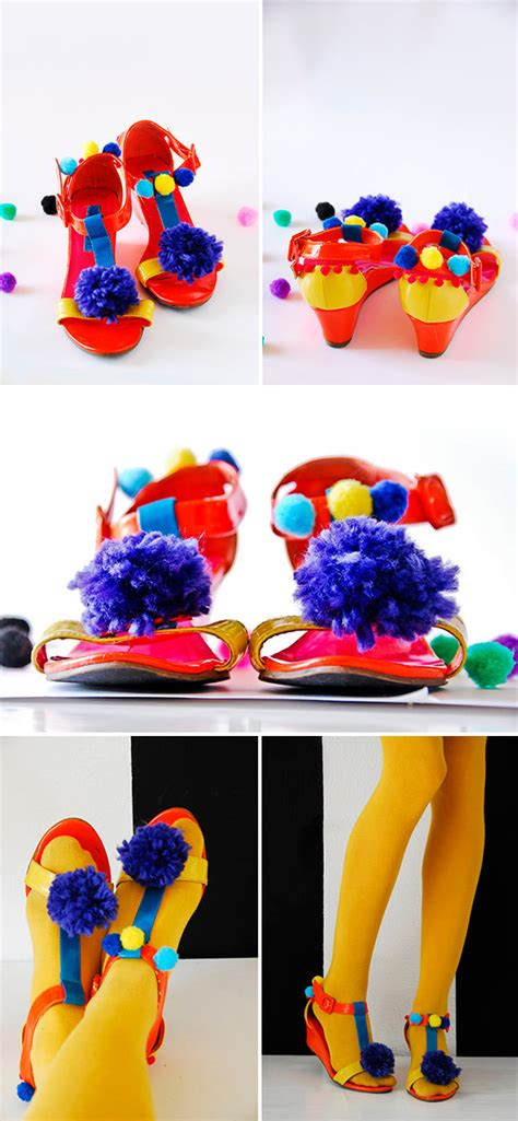 diy clown shoes diy pom pom sandals handmade