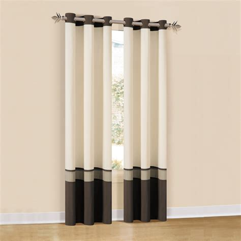 Pair Of Oxford Lined Three Tone Grommet Panel Curtains