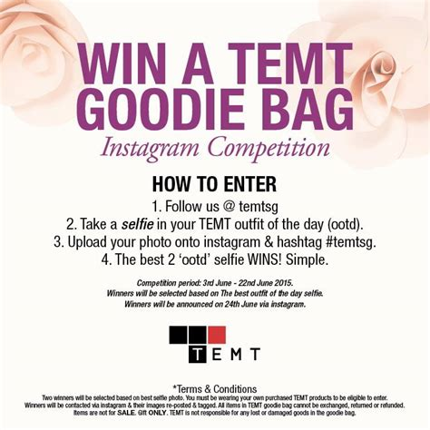 Best Giveaways On Instagram - win a temt goodie bag instagram competition giftout free giveaways singapore