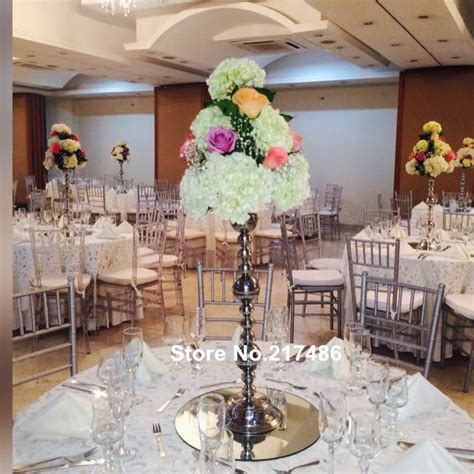 wholesale beautiful metal flower sliver paited flower stand wedding centerpiece for