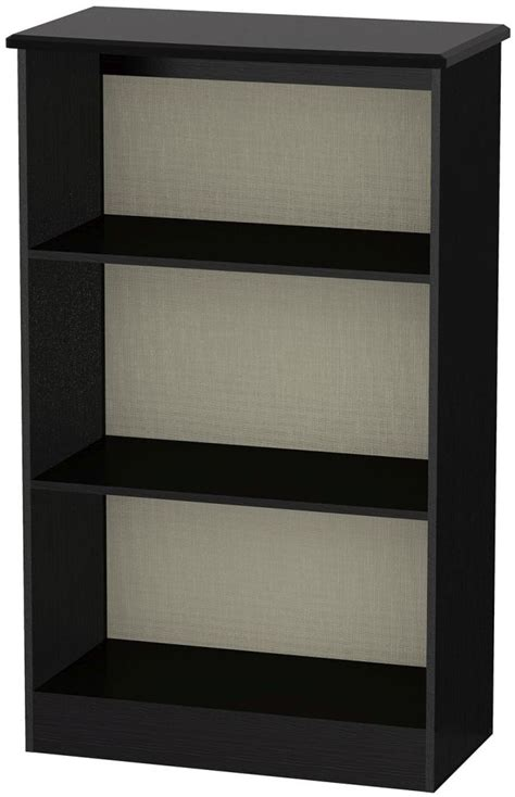 buy knightsbridge black bookcase 2 shelves cfs uk