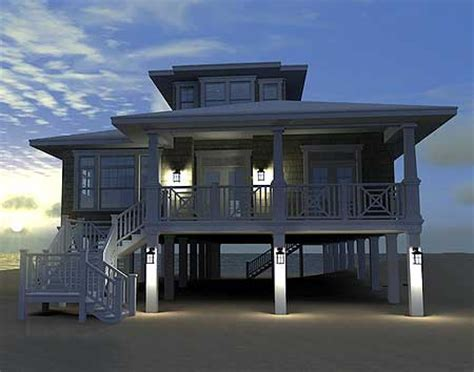 Lake Home Plans Narrow Lot House Plan Low Country Beach House Plan W44091td By