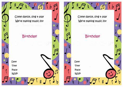 printable birthday cards music music birthday invitations birthday printable